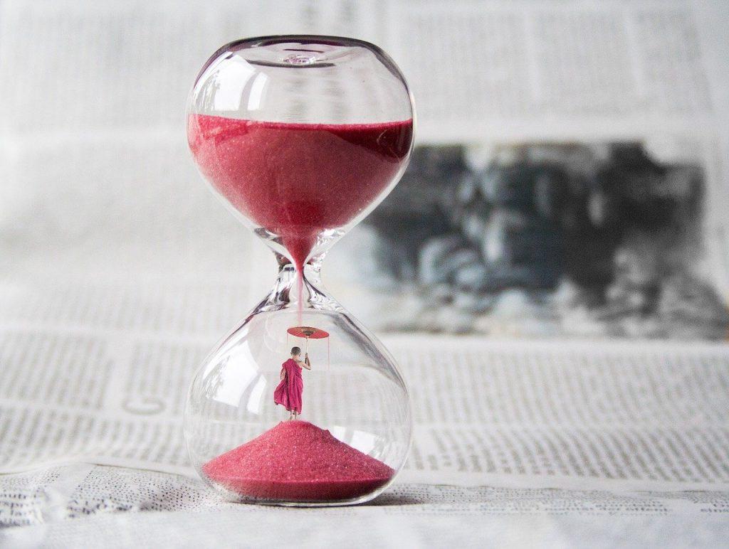 hourglass, clock, sand